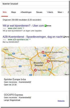 google zoeken koerier brussel